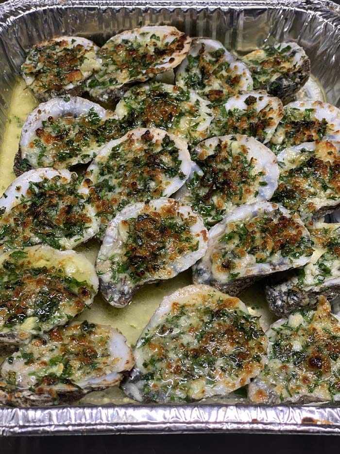 fire roasted oysters